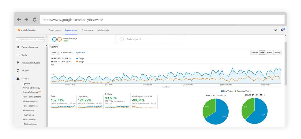 Raport z Google Analytics dotyczący ruchu na stronie internetowej