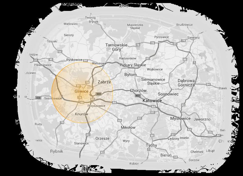 Mapa Gliwic zlokalizaowanych na Śląsku