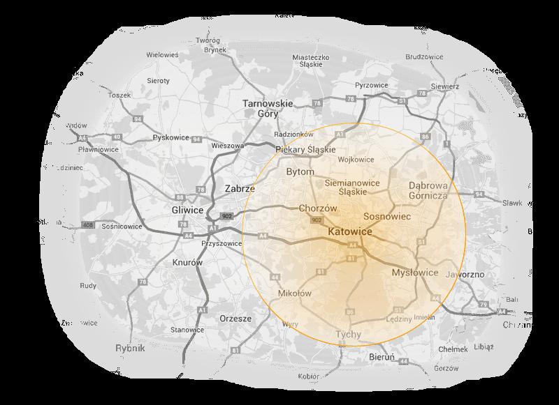 Mapa Zabrza i Katowic