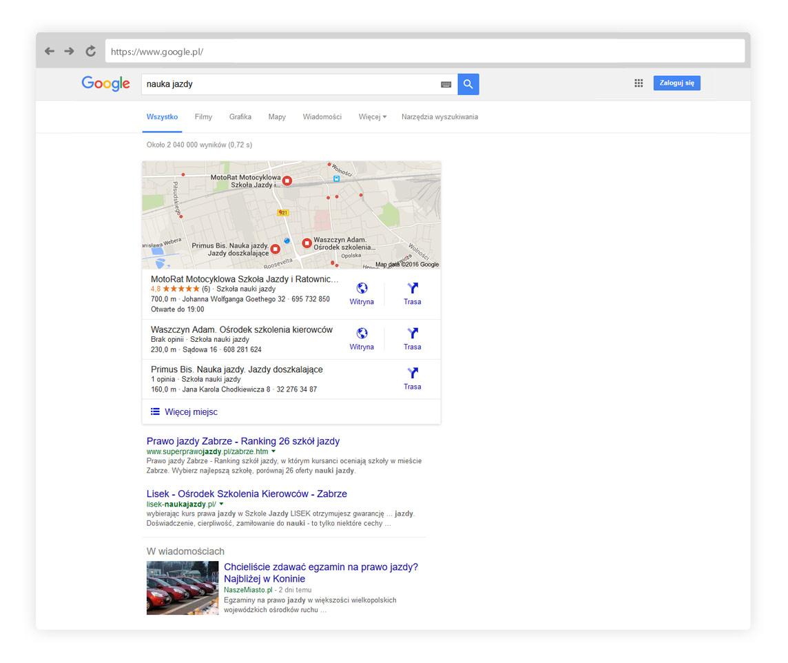 Wynik wyszukiwania lokalnego w Google - Katowice